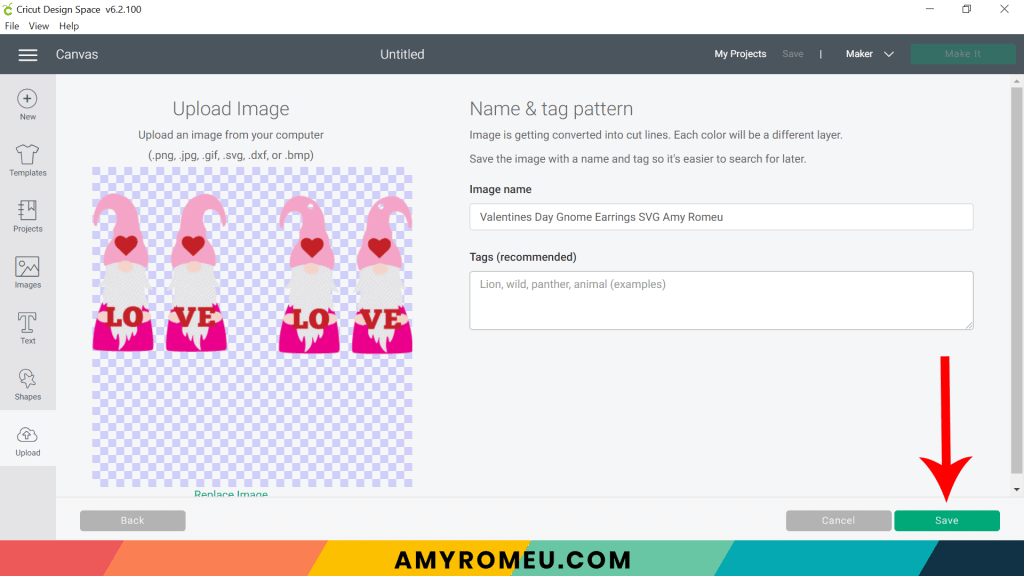 uploading Valentine's Day gnome earring SVG on Cricut Design Space
