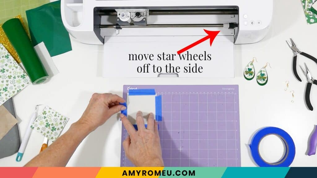 taping faux leather to Cricut mat