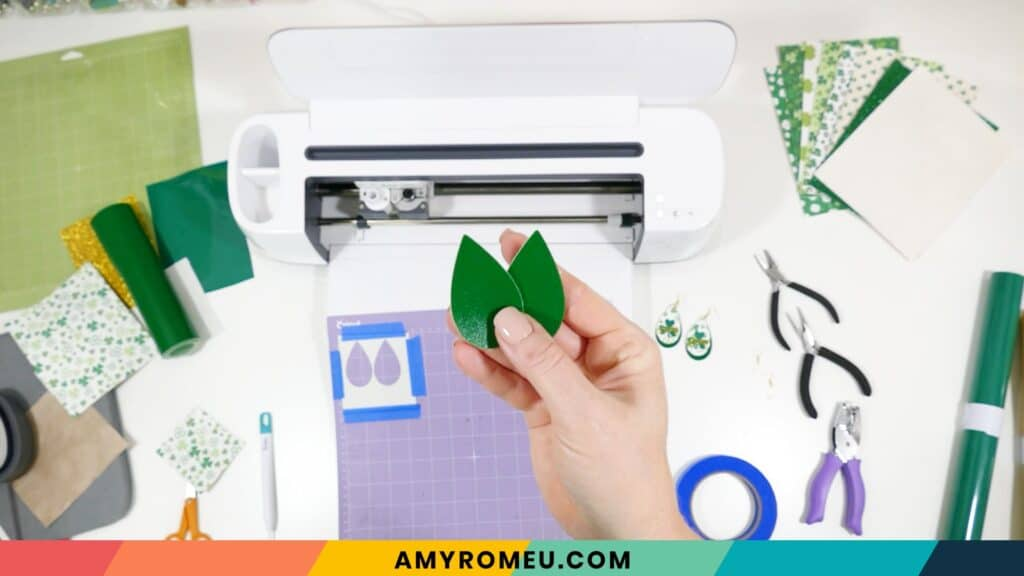 faux leather earring shapes cut with a Cricut