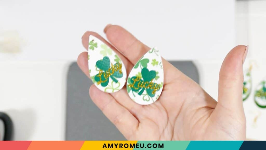 St. Patrick's Day faux leather earrings after pressing