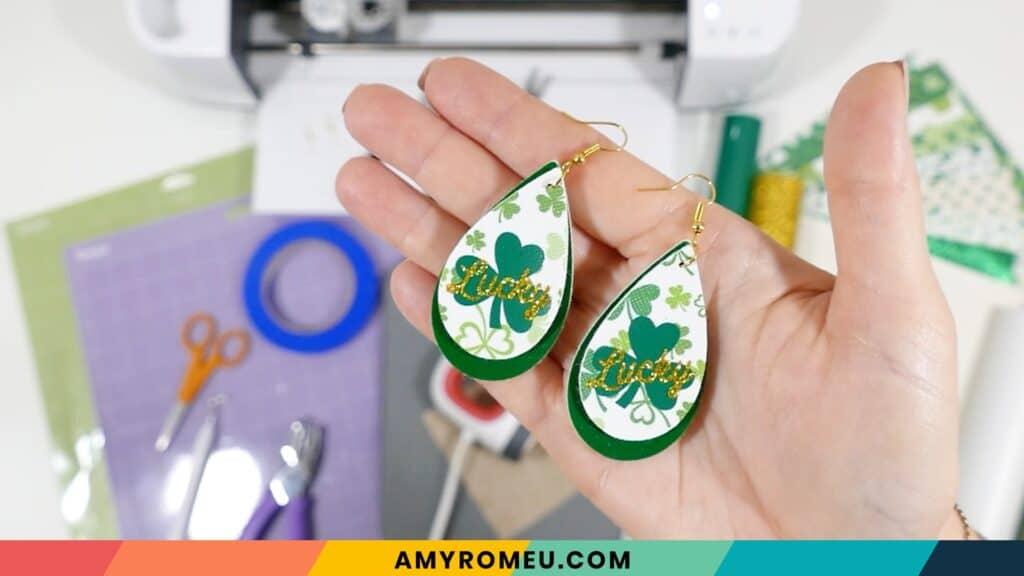 St. Patrick's Day lucky shamrock earrings for Cricut