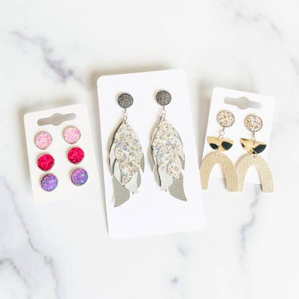 Easy Faux Leather Stud Earrings on earring cards