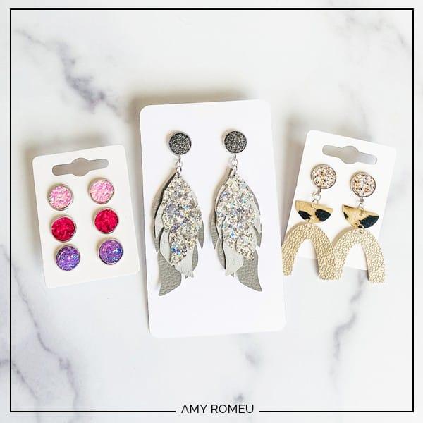 DIY faux leather stud earrings on earring cards