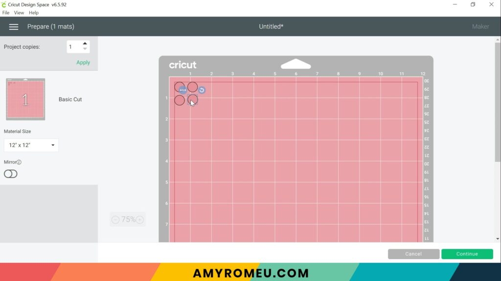 arranging stud earring circles on cutting mat in Cricut Design Space