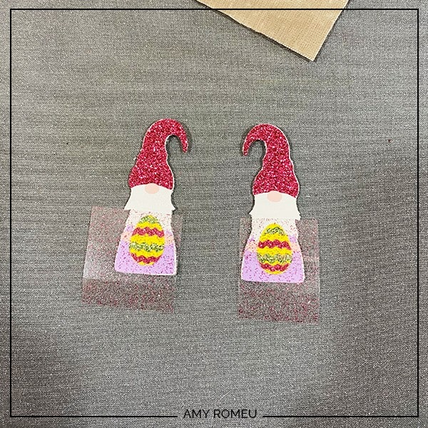 pressing easter gnome earring layers