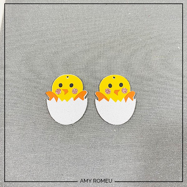 pressed Easter chick faux leather earrings