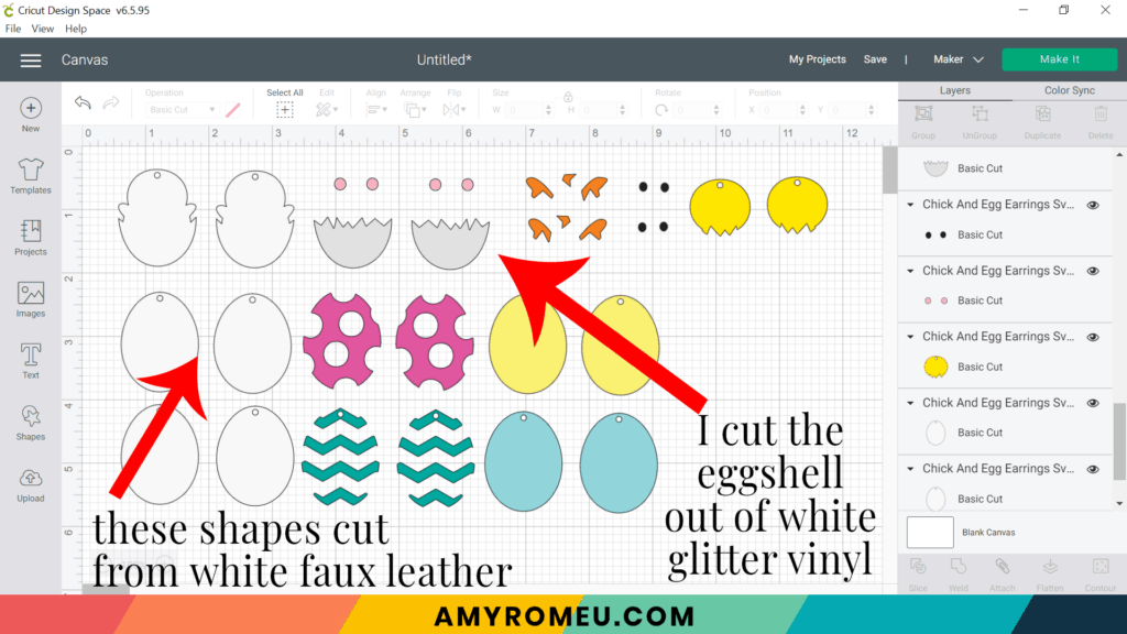 easter egg and easter chick earring layers in cricut design space
