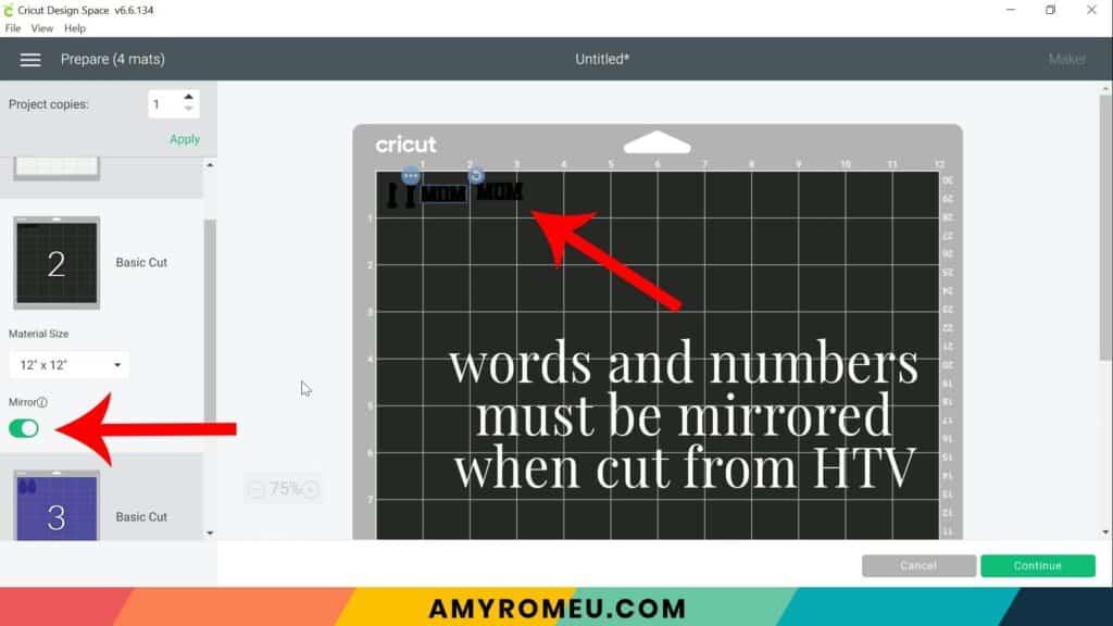 mirroring text for heat transfer vinyl in Cricut Design Space