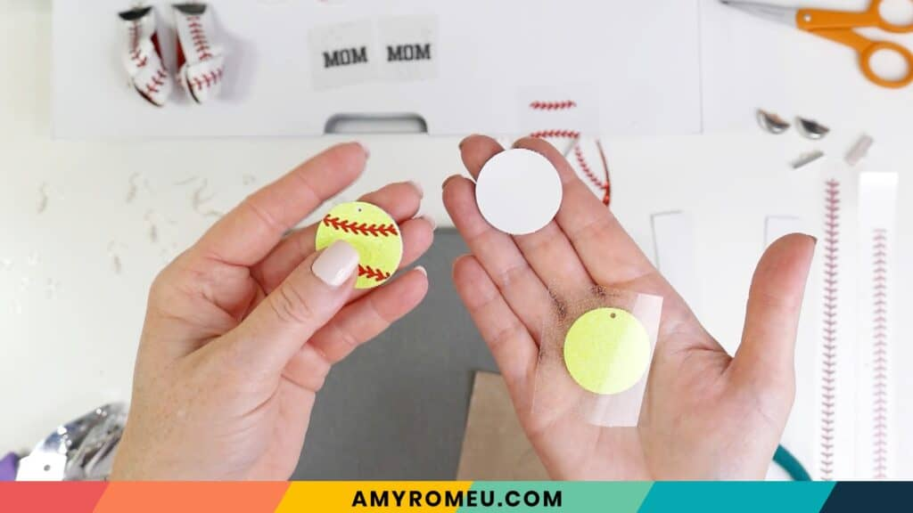 layering faux leather softball earrings
