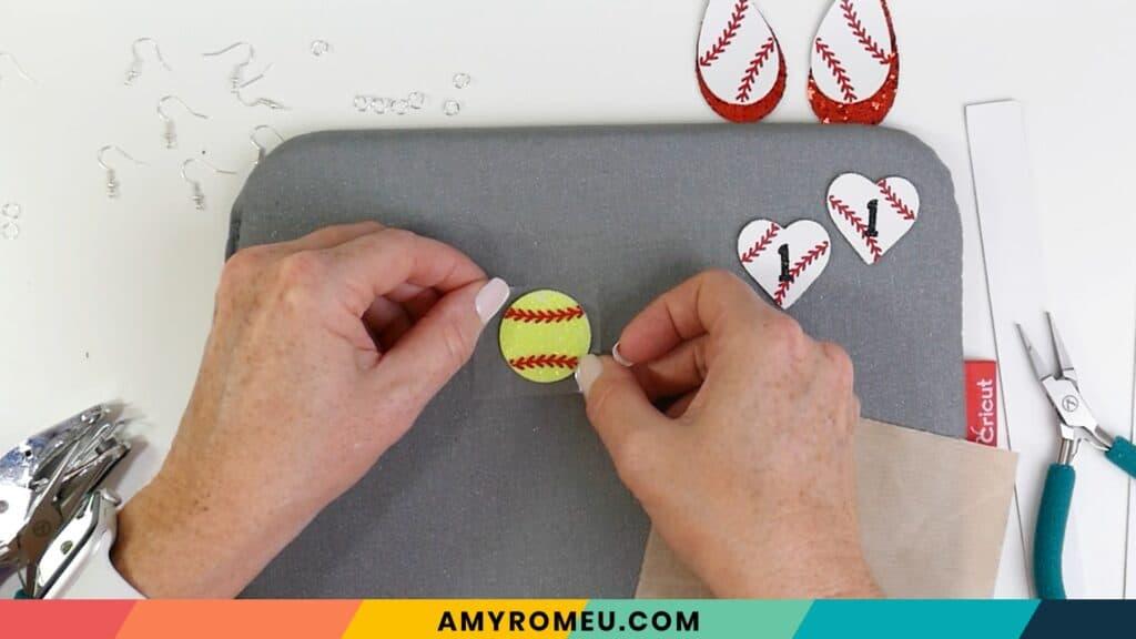 layering softball earrings