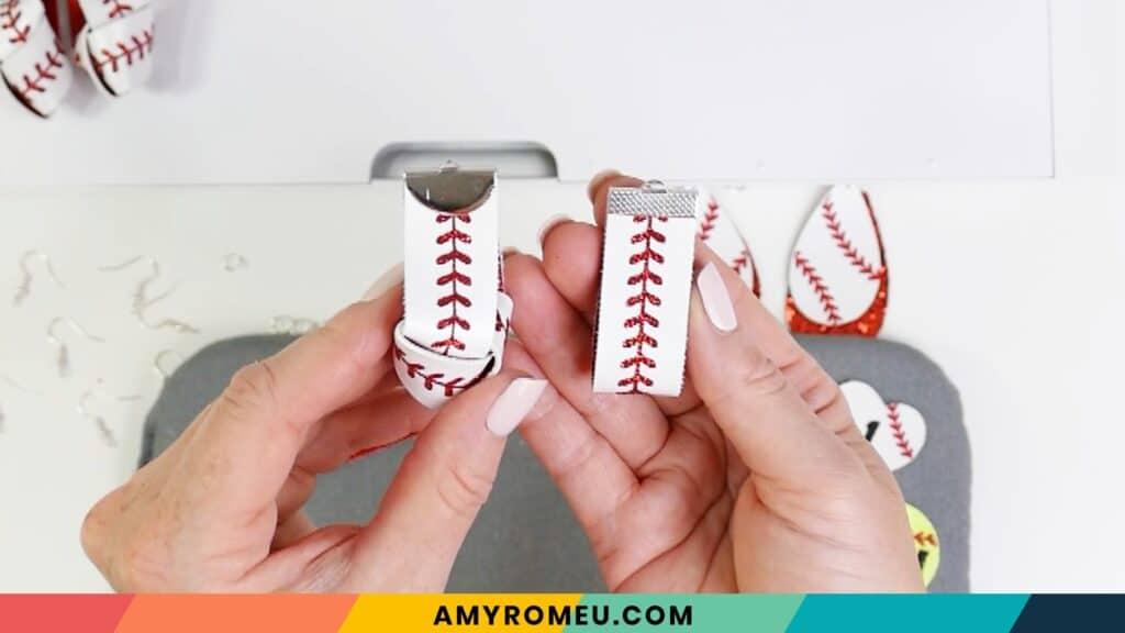 folded and knotted baseball earrings