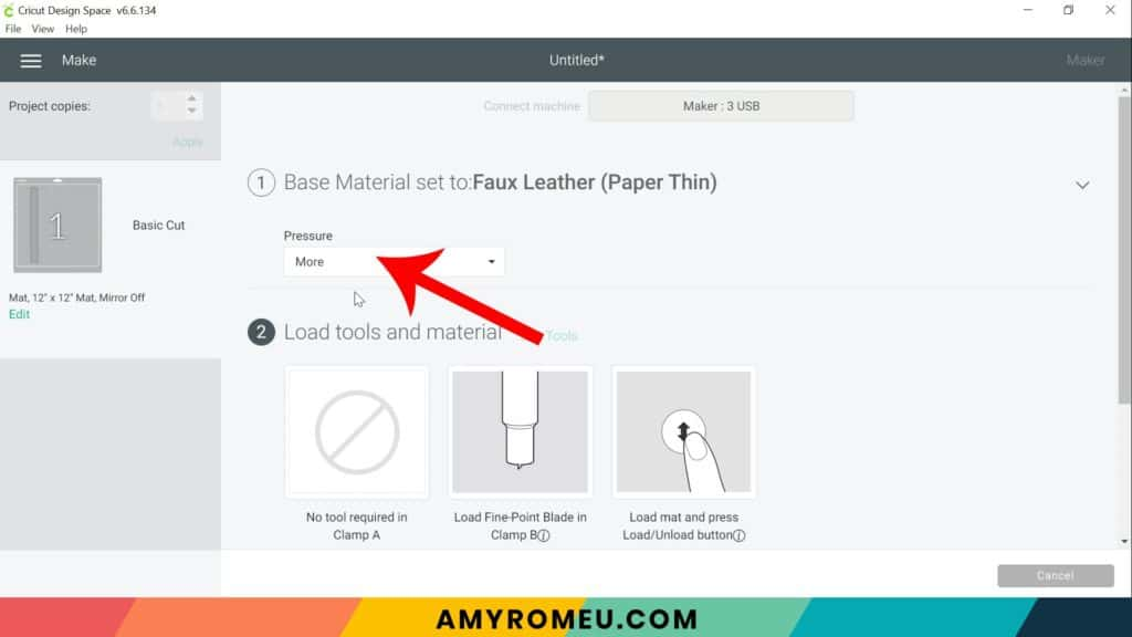 faux leather paper thin setting in Cricut Design Space