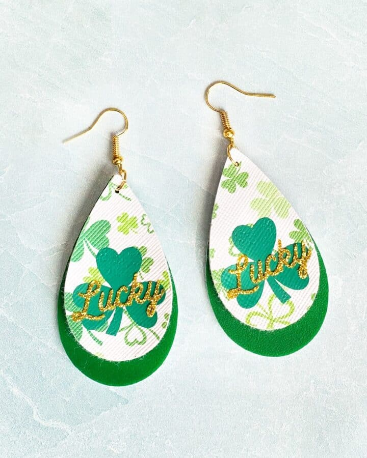DIY Cricut Faux Leather St. Patrick's Day Earrings