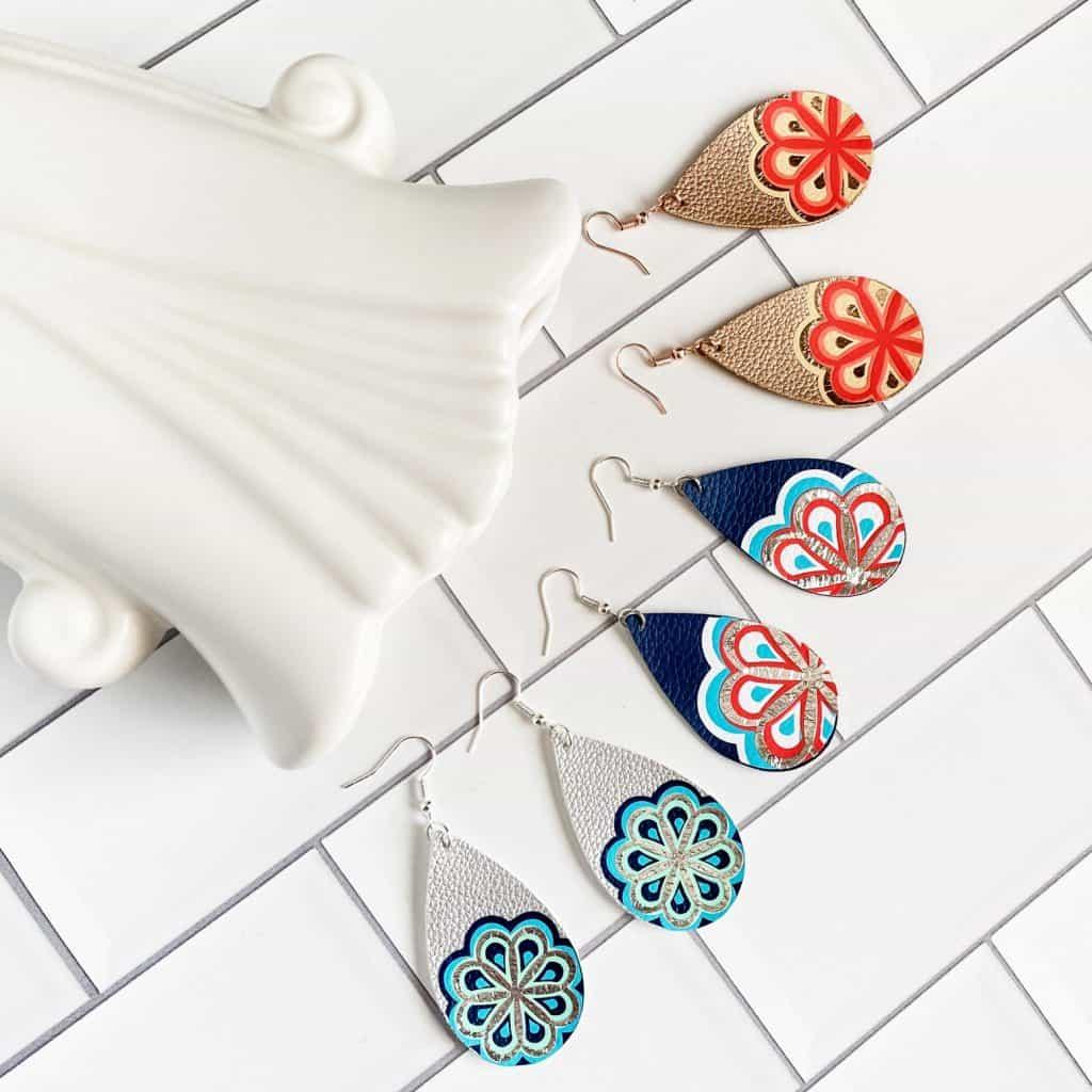 three layered mandala earring designs