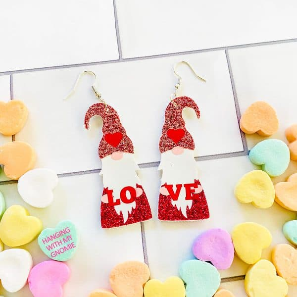 DIY Cricut Valentine's Day Gnome Earrings
