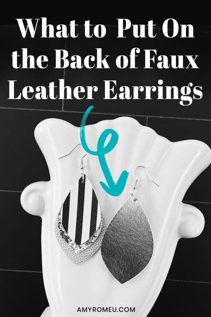 faux leather earrings, front and back views