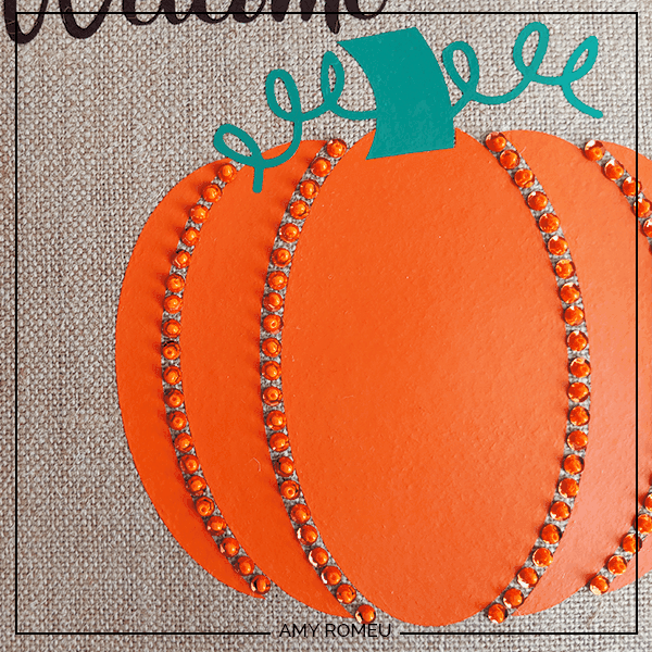 beaded pumpkin with vinyl and sequins