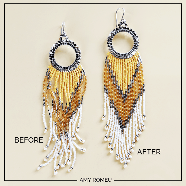 beaded fringe earrings before and after