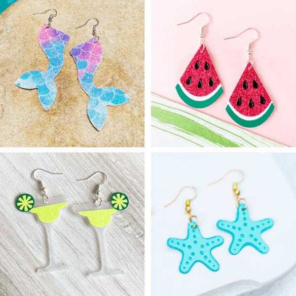 summer earrings mermaid tail earrings watermelon earrings margarita earrings starfish earrings