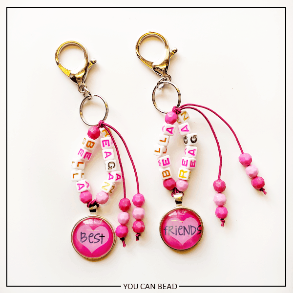 DIY best friend keychains made with letter beads.