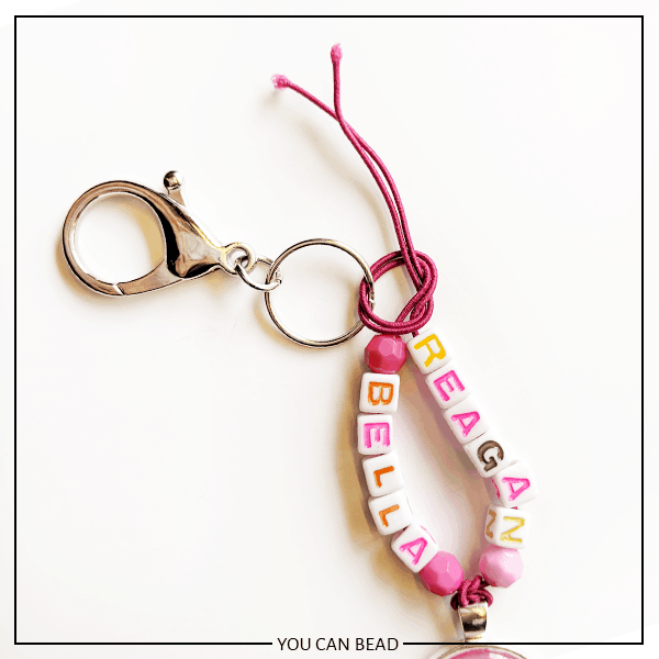 knotting best friend keychains made with letter beads.