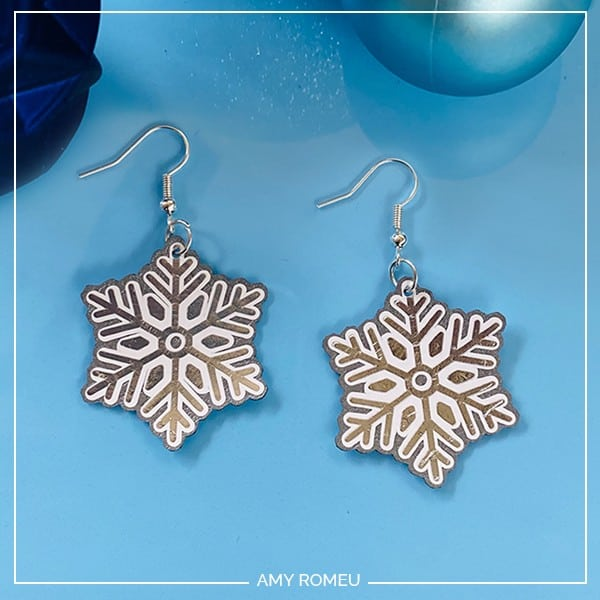 DIY Cricut Snowflake Earrings by Amy Romeu