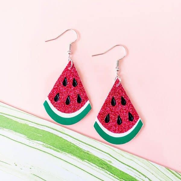 watermelon earrings made with a Cricut