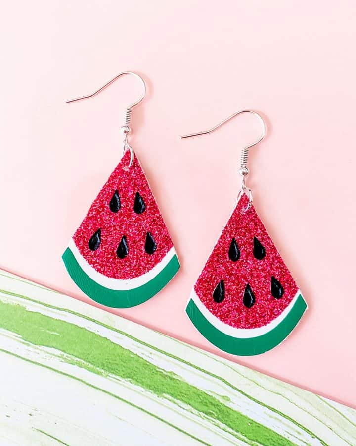 watermelon earrings made with a Cricut