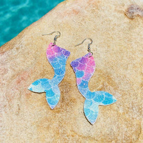 Easy DIY Mermaid Tail Earrings Made with a Cricut