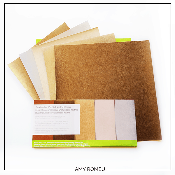 Cricut brand faux pebbled leather sampler pack in neutral metallic colors