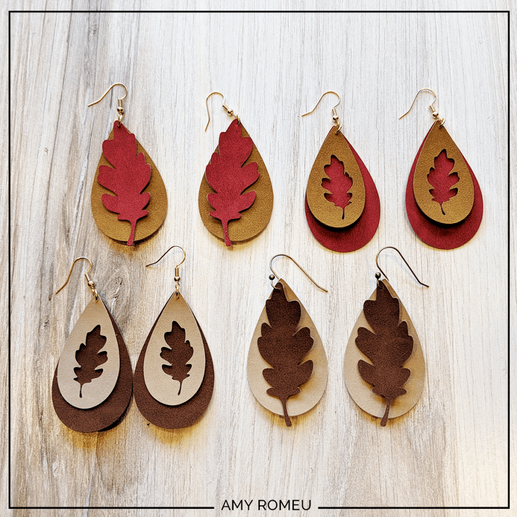 finished faux suede fall leaf earrings made with a cricut