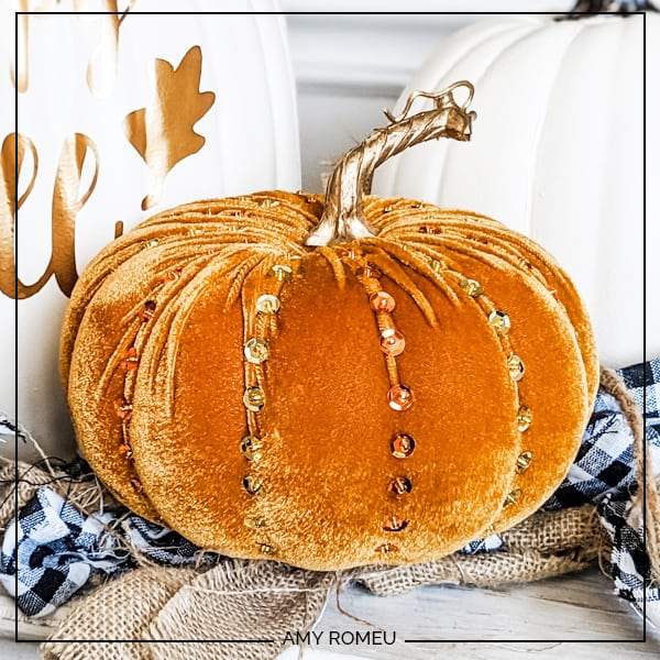 faux velvet pumpkin decorated with beads and sequins