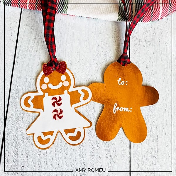 front and back of gingerbread man gift tags