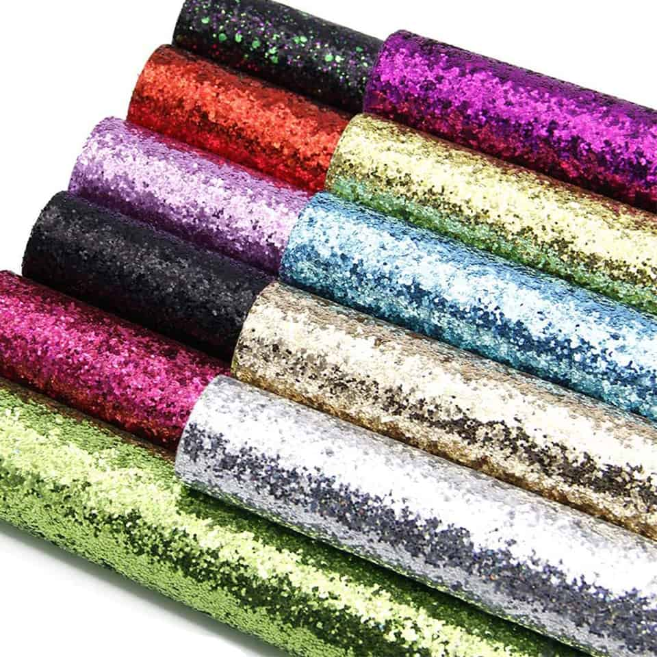 rolls of glitter faux leather