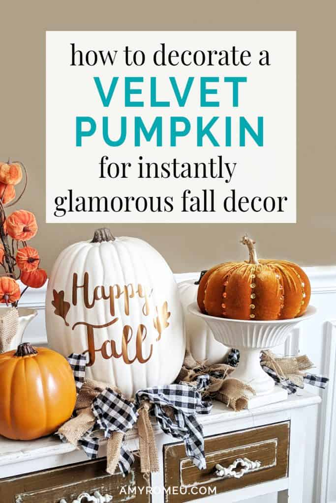 beaded faux pumpkin and fall decor