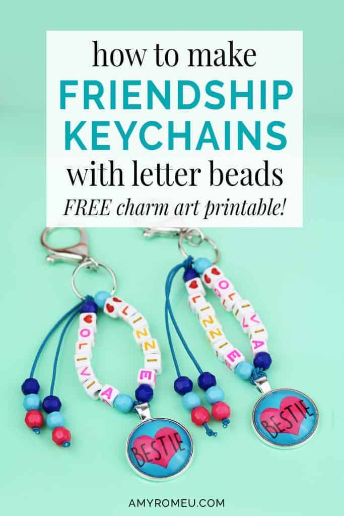 best friend keychains with letter beads