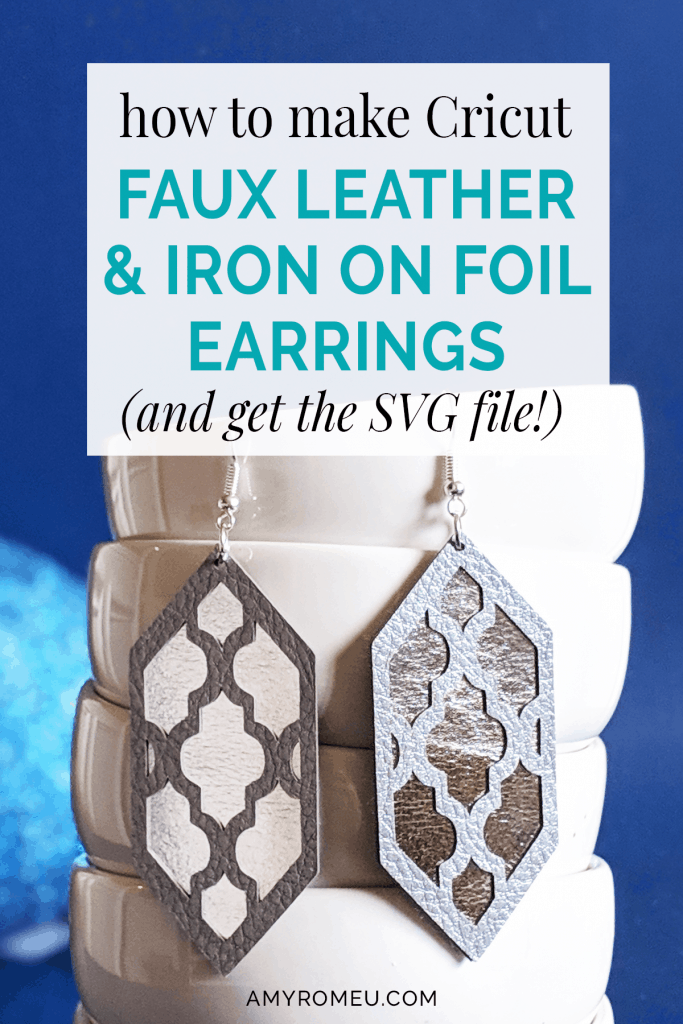 faux leather and foil earrings made with a Cricut maker