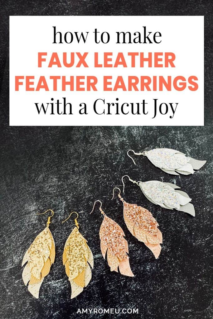 How to Make Cricut Joy Glitter Leather Feather Earrings