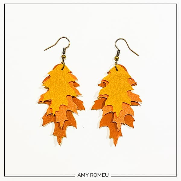 faux leather fall leaf earrings