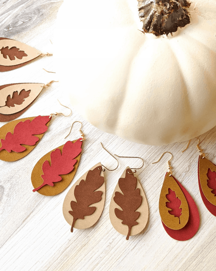 faux suede earrings with a fall leaf design