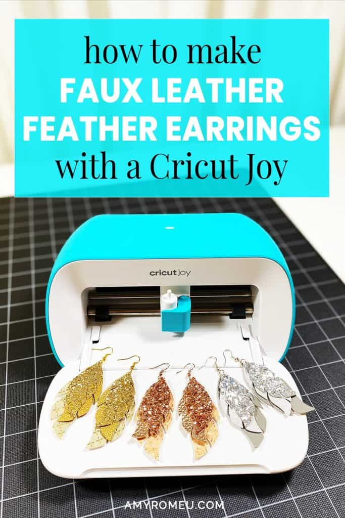 DIY Cricut Joy Faux Leather Glitter Feather Earrings