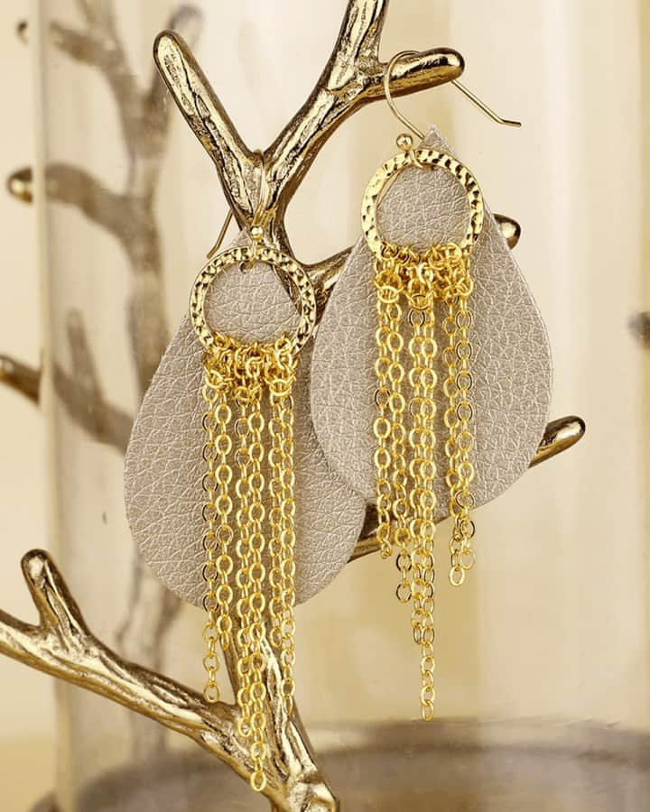 leather earrings with chain fringe