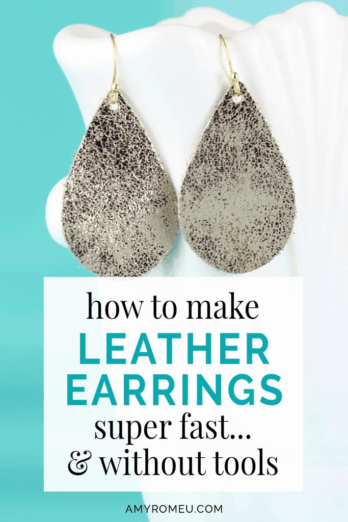 leather teadrop earring DIY