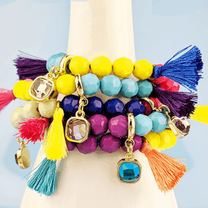 stack bracelets with beads, tassels and charms tutorial