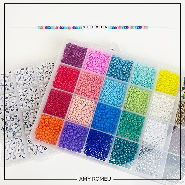 letter beads and seed beads for stretchy bracelets