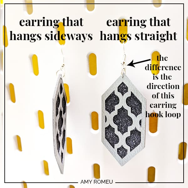 faux leather earrings hanging sideways and straight