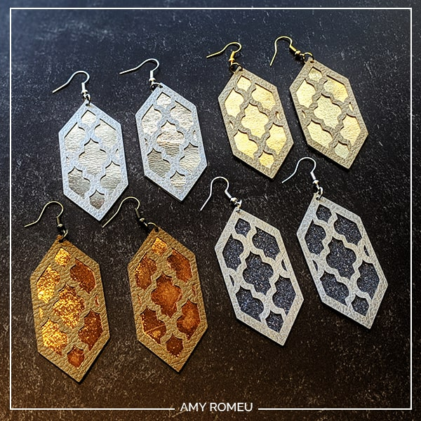 Cricut faux leather, iron on foil, and giltter HTV earrings in different colors