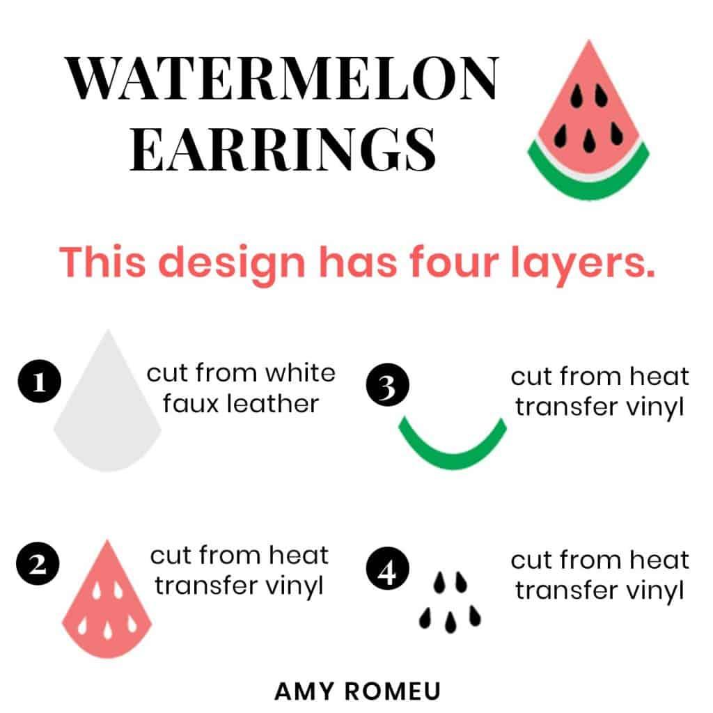 diy watermelon earring layers