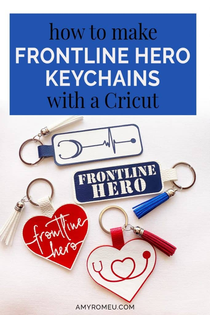 Cricut keychains made from faux leather for frontline heroes, doctors, nurses, medical professionals