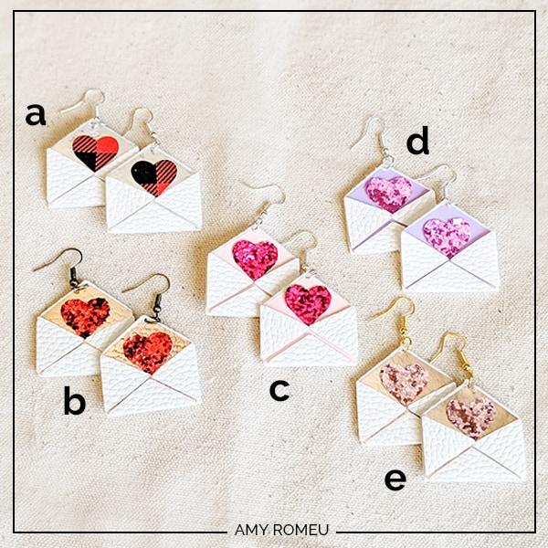 DIY Cricut faux leather love letter earrings